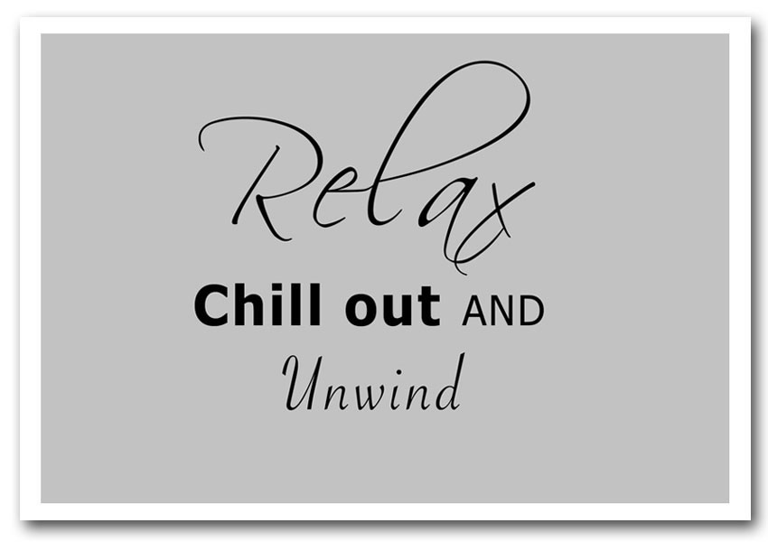 Framed-Art Print-10960-Relax Chill Out Grey-Text Quotes-Giclee Paper-A
